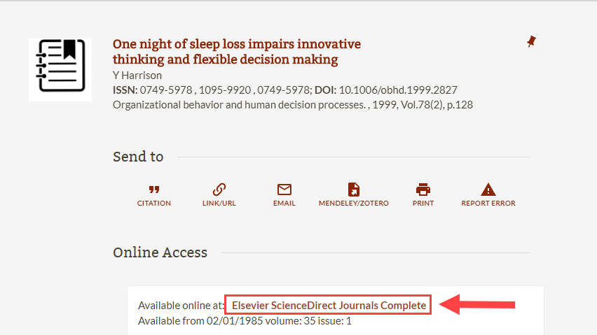 screenshot of article access link in Library catalog