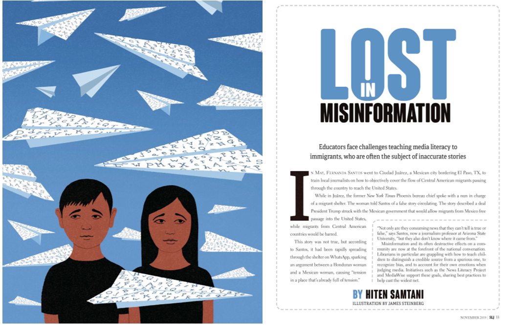 Front page of an article titled Lost in misinformation with illustration of two sad looking children surrounded by paper airplanes that are covered in letters