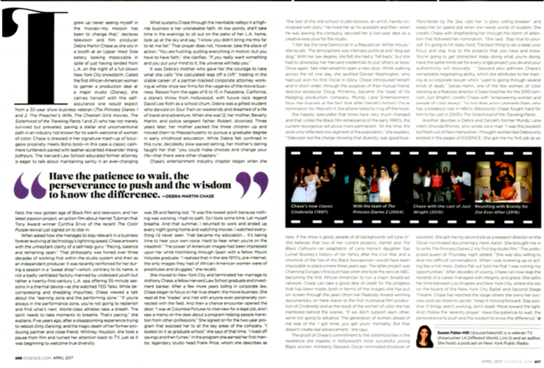 pages of article from Essence magazine with text and photos of people
