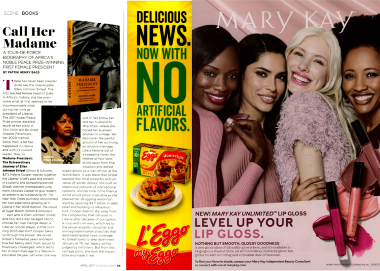 pages from Essence magazine depicting ads for Mary Kay cosmetics and Eggo waffles