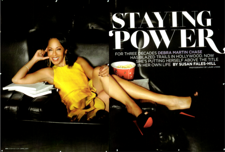 First pages of a story from Essence magazine titled Staying Power by Susan Fales-Hill with an image of a reclined Debra Martin Chase