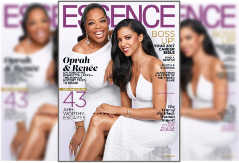 Front page of Essence magazine showing Oprah Winfrey and another actress