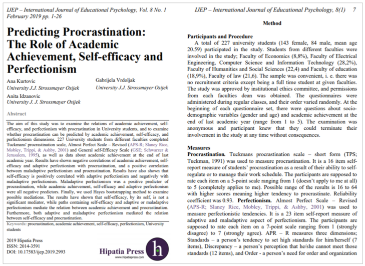 First page of article titled Predicting Procrastination: The role of academic achievement, self-efficacy, and perfectionism