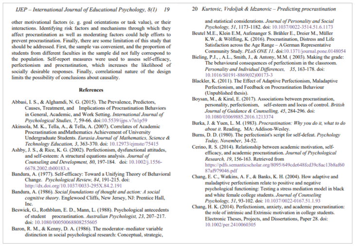 a page of a scholarly article with the end of the article text and a references list that shows article citations