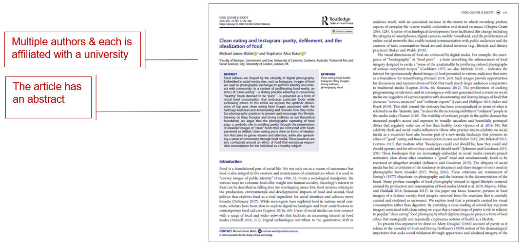 pages from an article from journal food culture and society with callout boxes reading multiple authors & each is affiliated with a university; and the article has an abstract