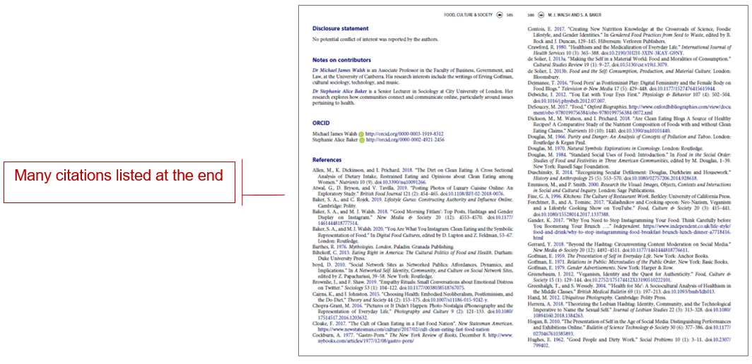 page from journal article with callout box reading many citations listed at the end