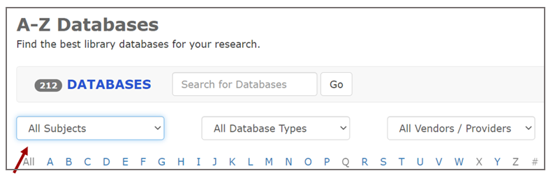 screenshot of top of A-Z Databases page reads Find the best library databases for your research, with an arrow pointing to All Subjects dropdown menu