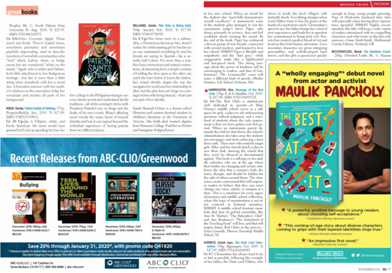 end pages of article from Library Journal depicting advertisements including one for a debut novel from actor and activist Maulik Pancholy with his photo and an image of the book and recent releases from a publisher depicting the front covers of some books