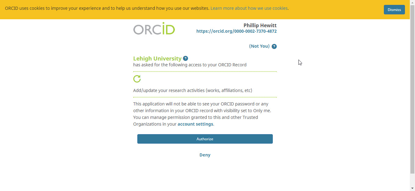 ORCID screen click authorize Lehigh