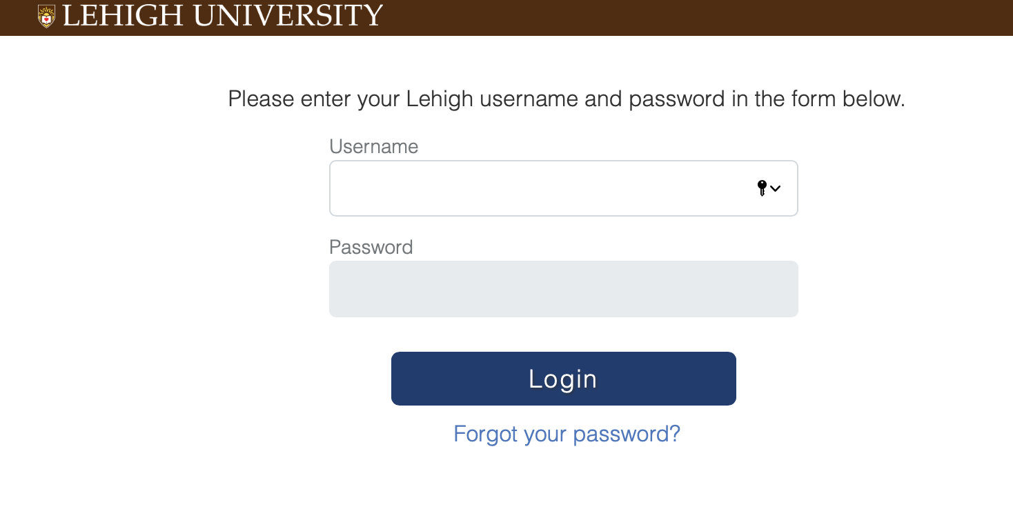 Lehigh single sign on page