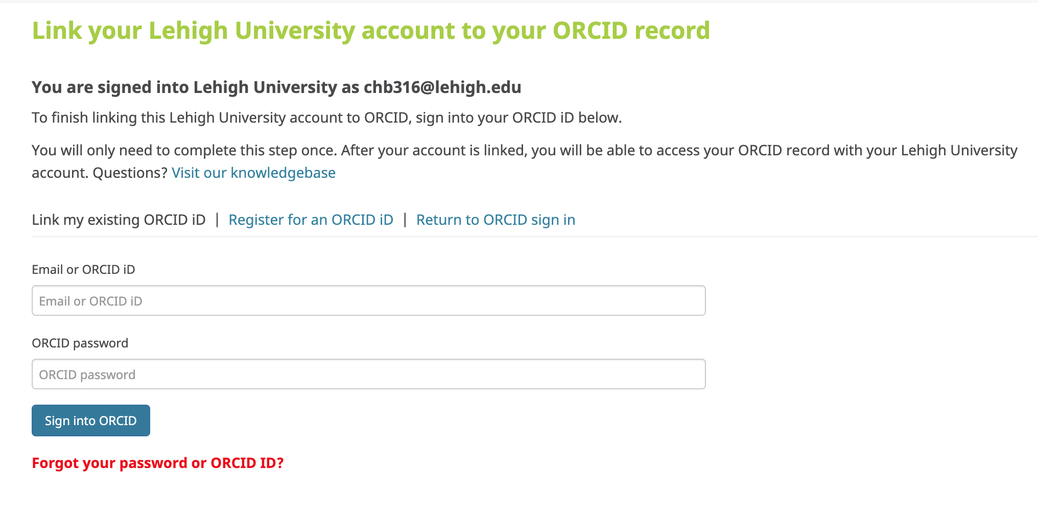 ORCID link login screen