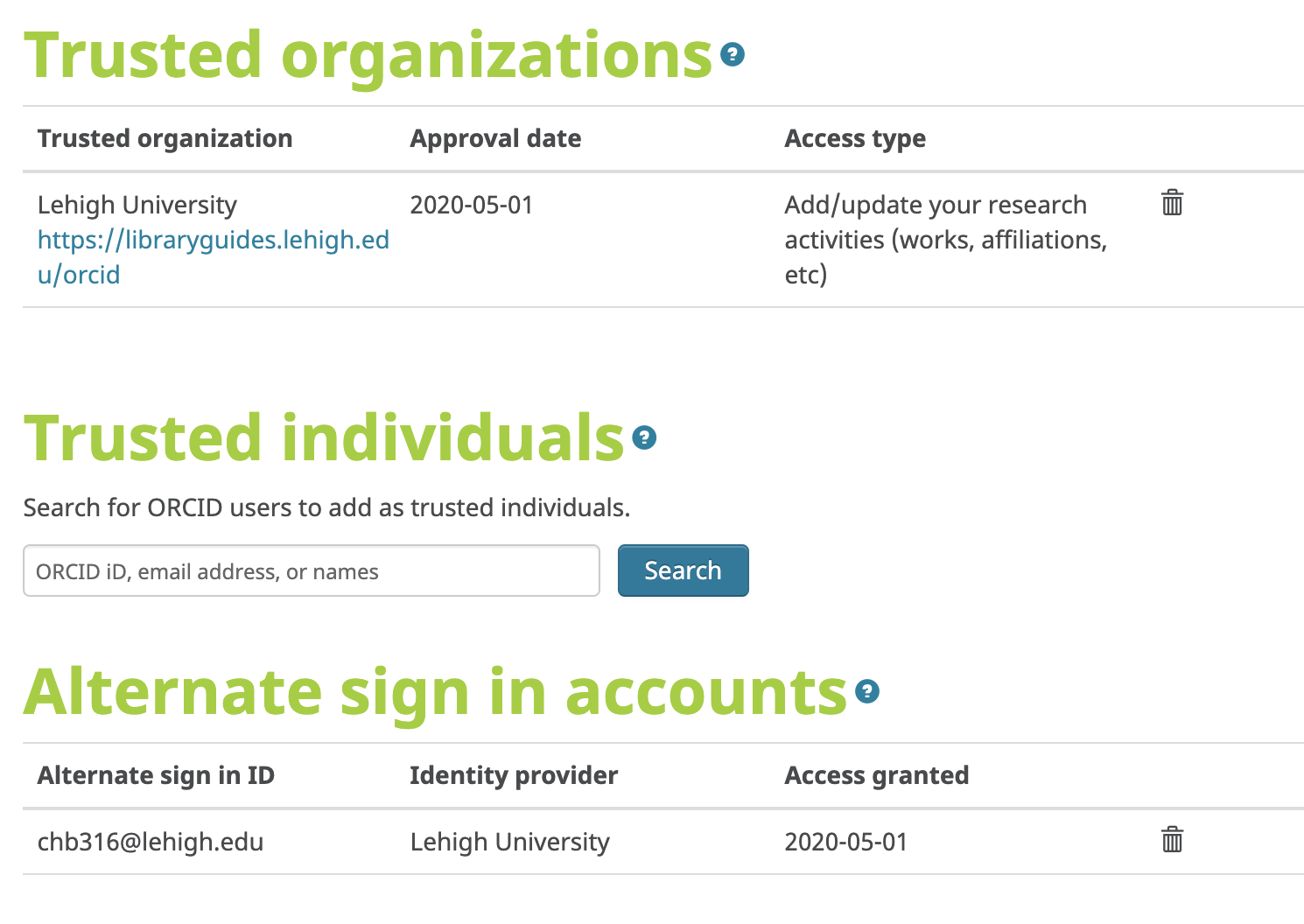 ORCID trusted organizations alternate sign in accounts screen