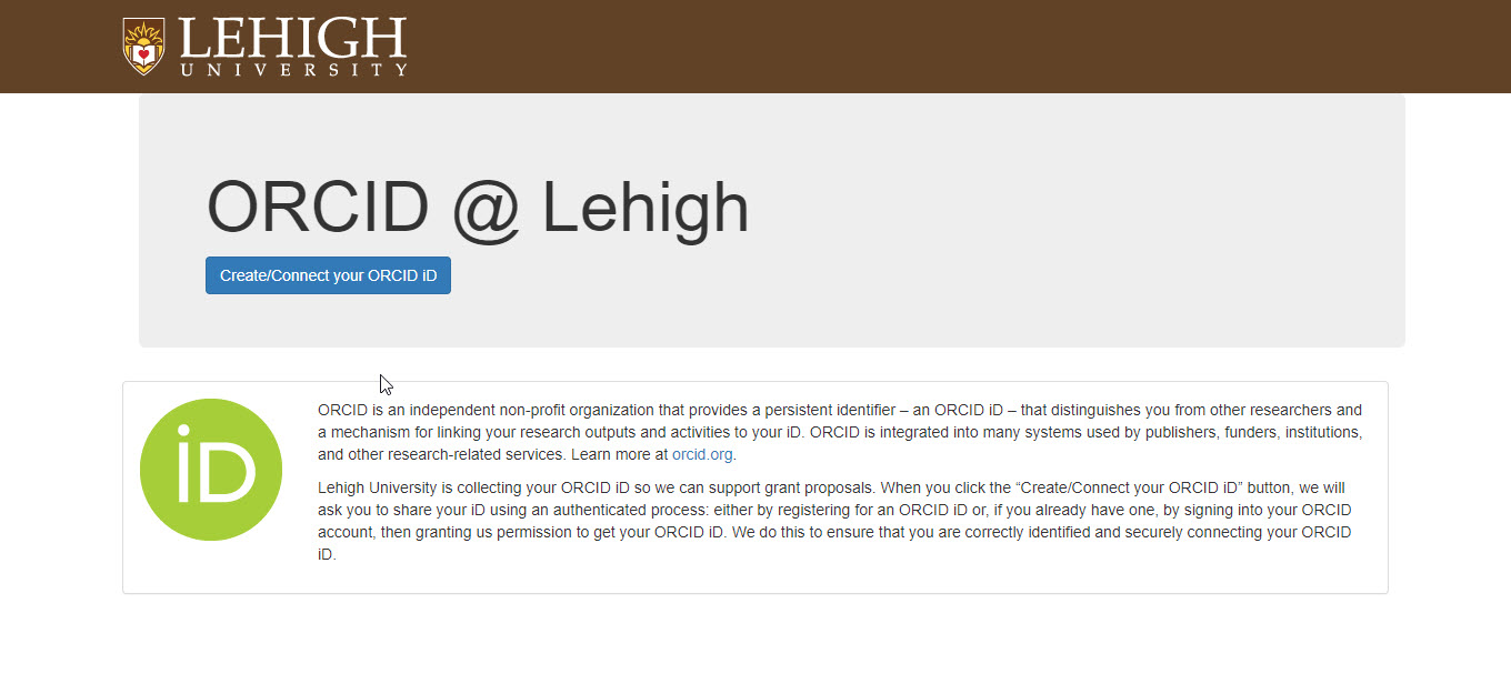 Lehigh ORCID @ Lehigh screen Create Connect