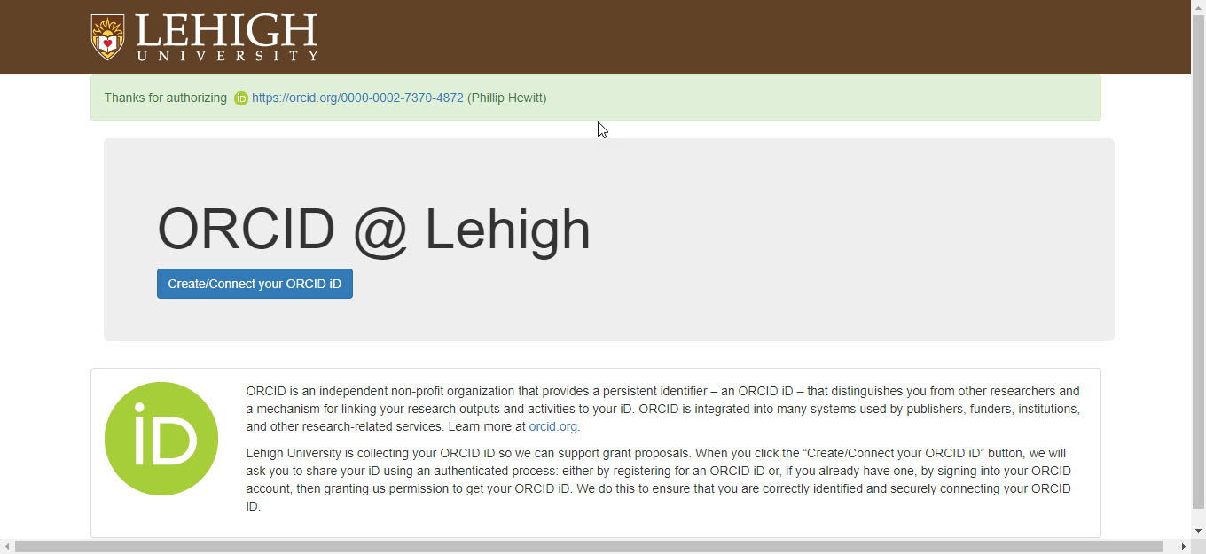 Lehigh thanks for authorizing ORCID