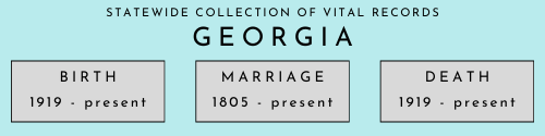 Georgia statewide collection of vital records beginning and end dates. Birth: 1919 to present. Marriage: 1805 to present. Death: 1919 to present.