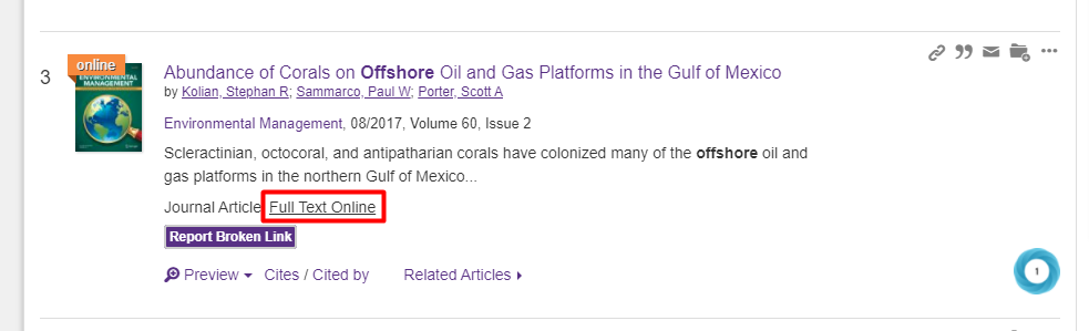 OneSearch Find Full Text link