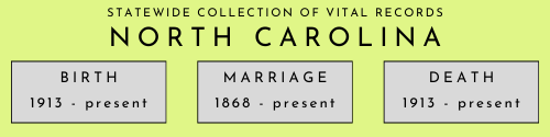 North Carolina statewide collection of vital records beginning and end dates. Birth: 1913 to present. Marriage: 1868 to present. Death: 1913 to present.