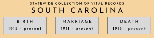 South Carolina statewide collection of vital records beginning and end dates. Birth: 1915 to present. Marriage: 1911 to present. Death: 1915 to present.