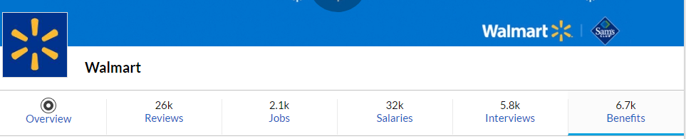 Glassdoor Walmart page menu bar