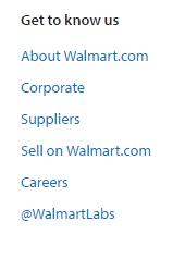 Walmart Get to know us menu