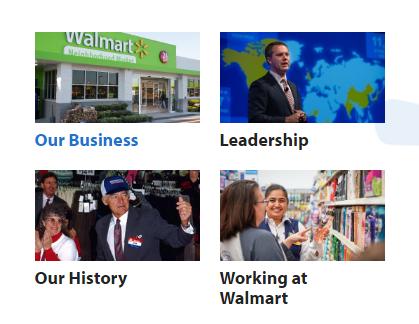 Walmart Our Story menu