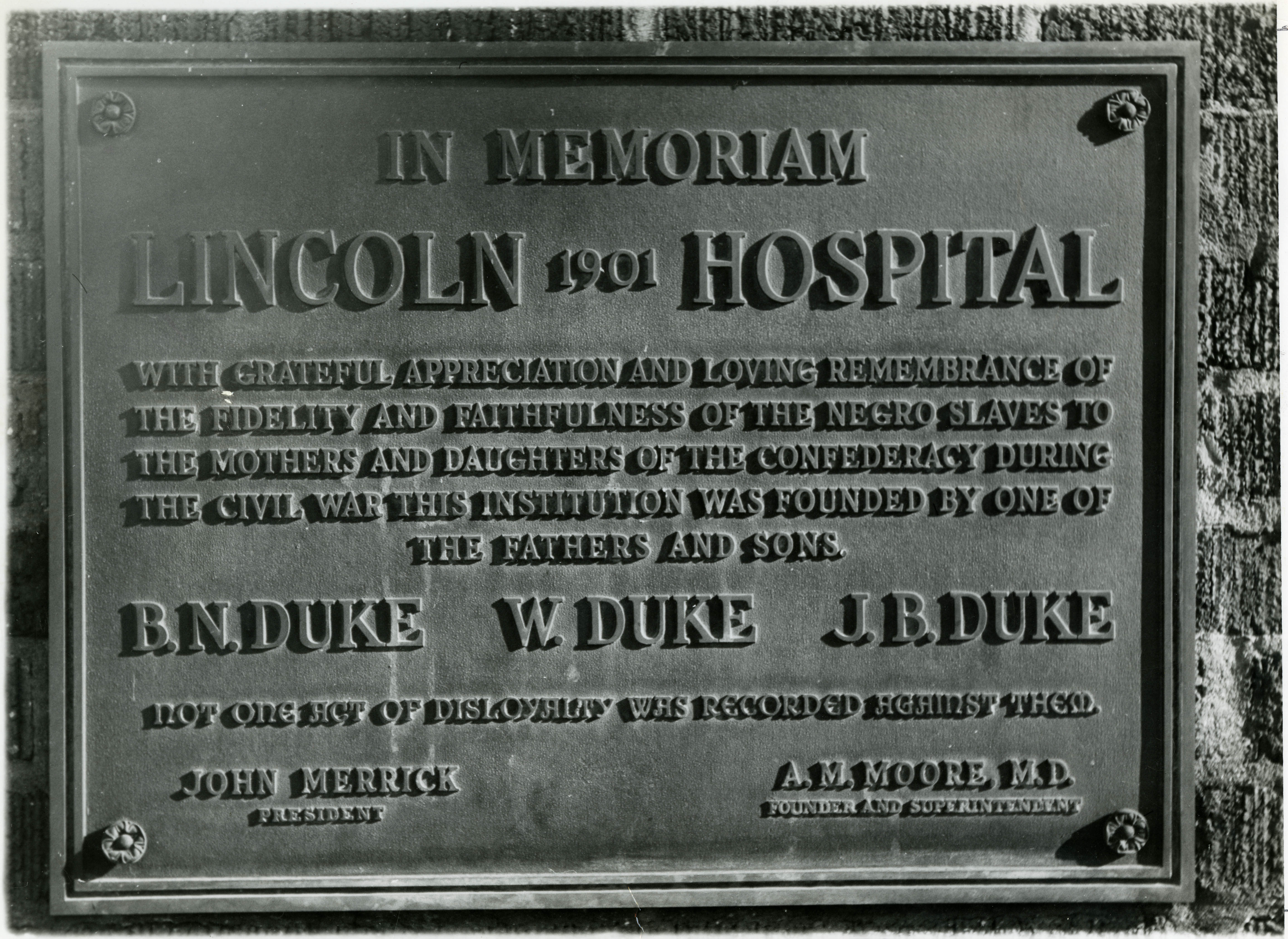 Lincoln Hospital plaque