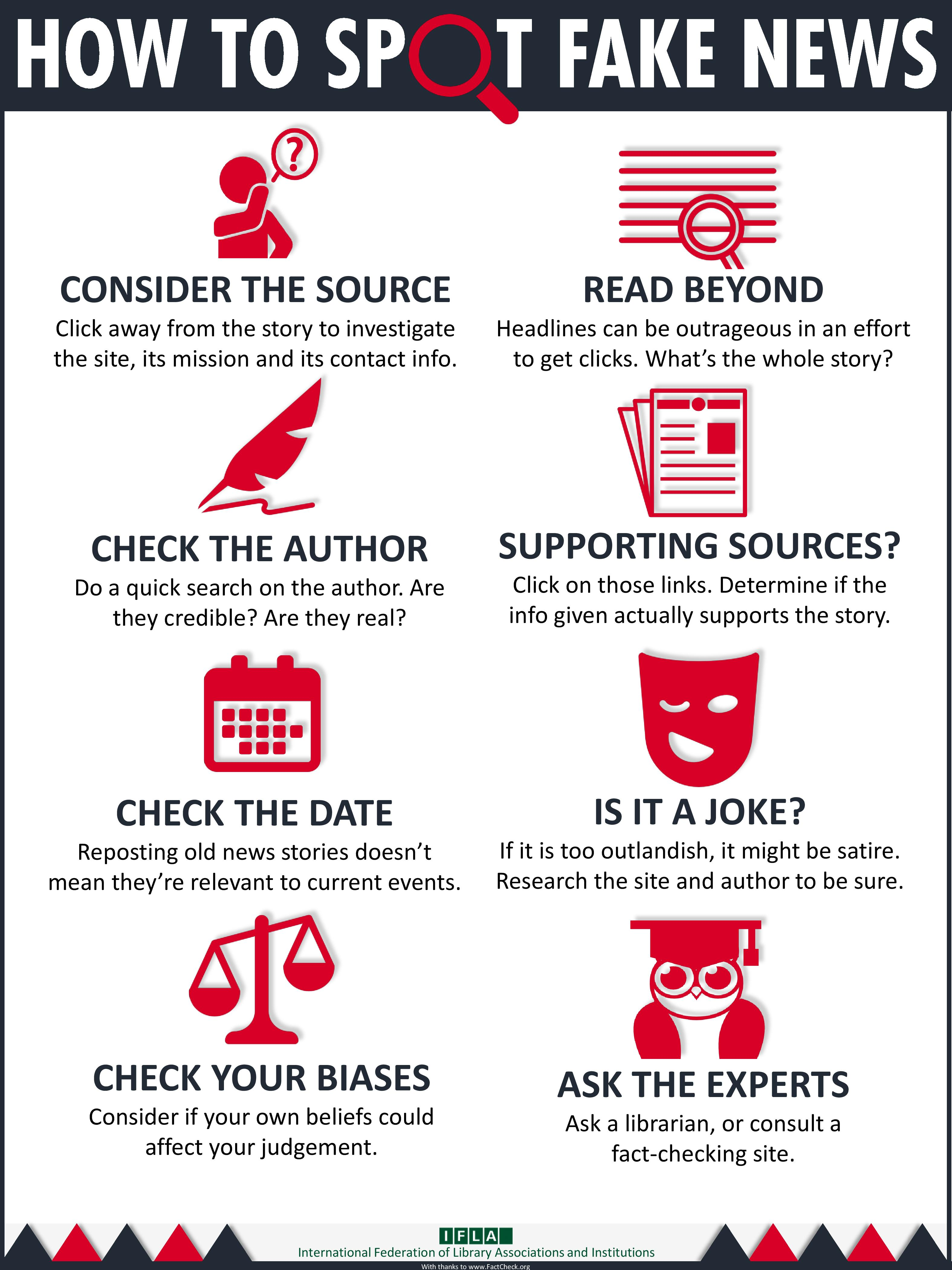 Infographic explaining ways to spot fake news