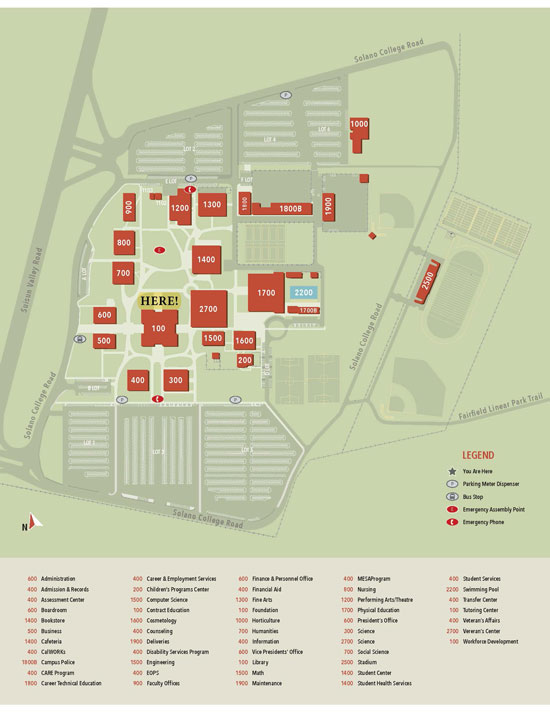 Campus Map with Library pickup location behind bldg 100