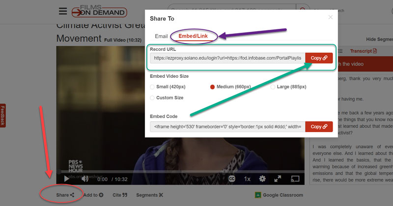 embed and link code for Films on Demand