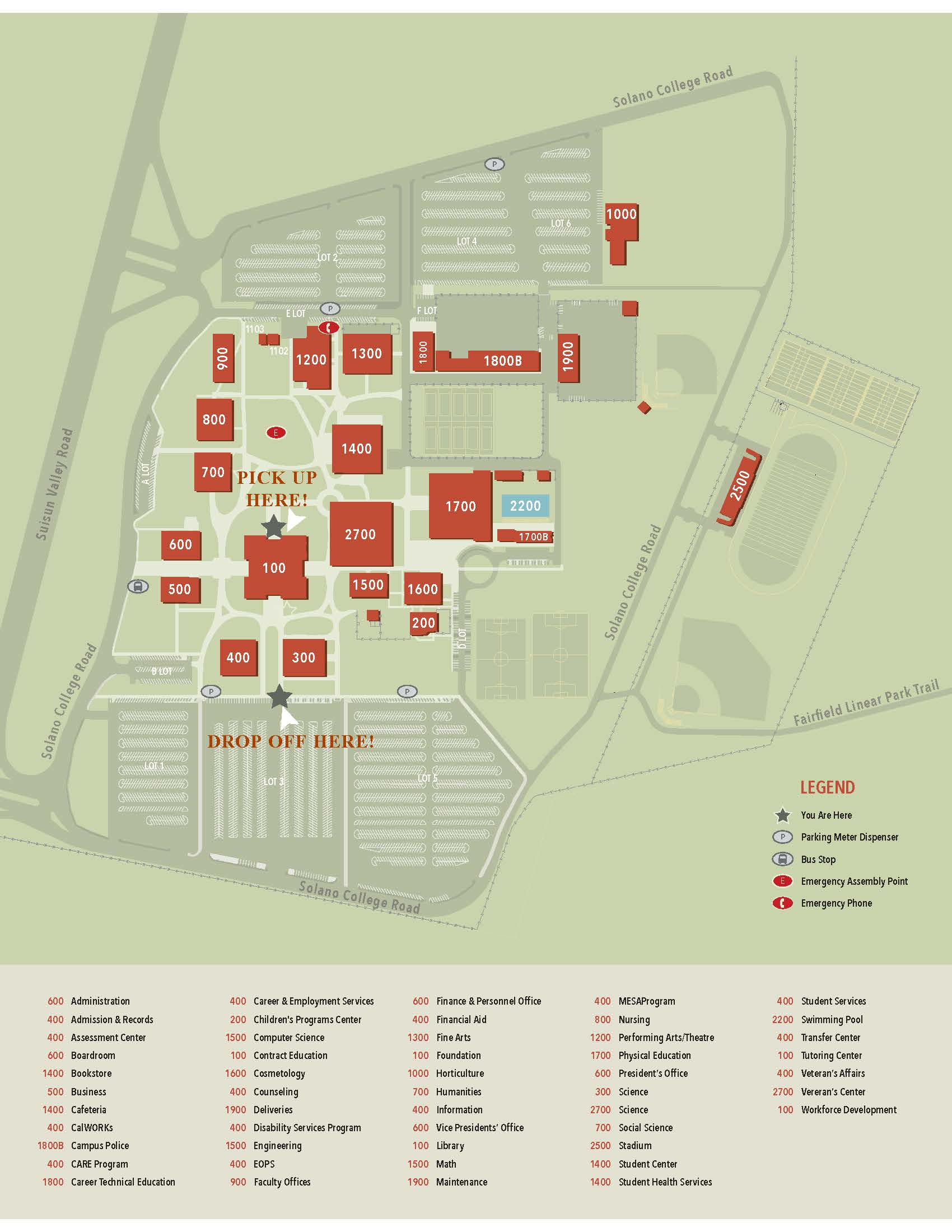 updated campus map with book drop location