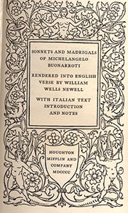 Sonnets and Madrigals of Michelangelo Buonarroti