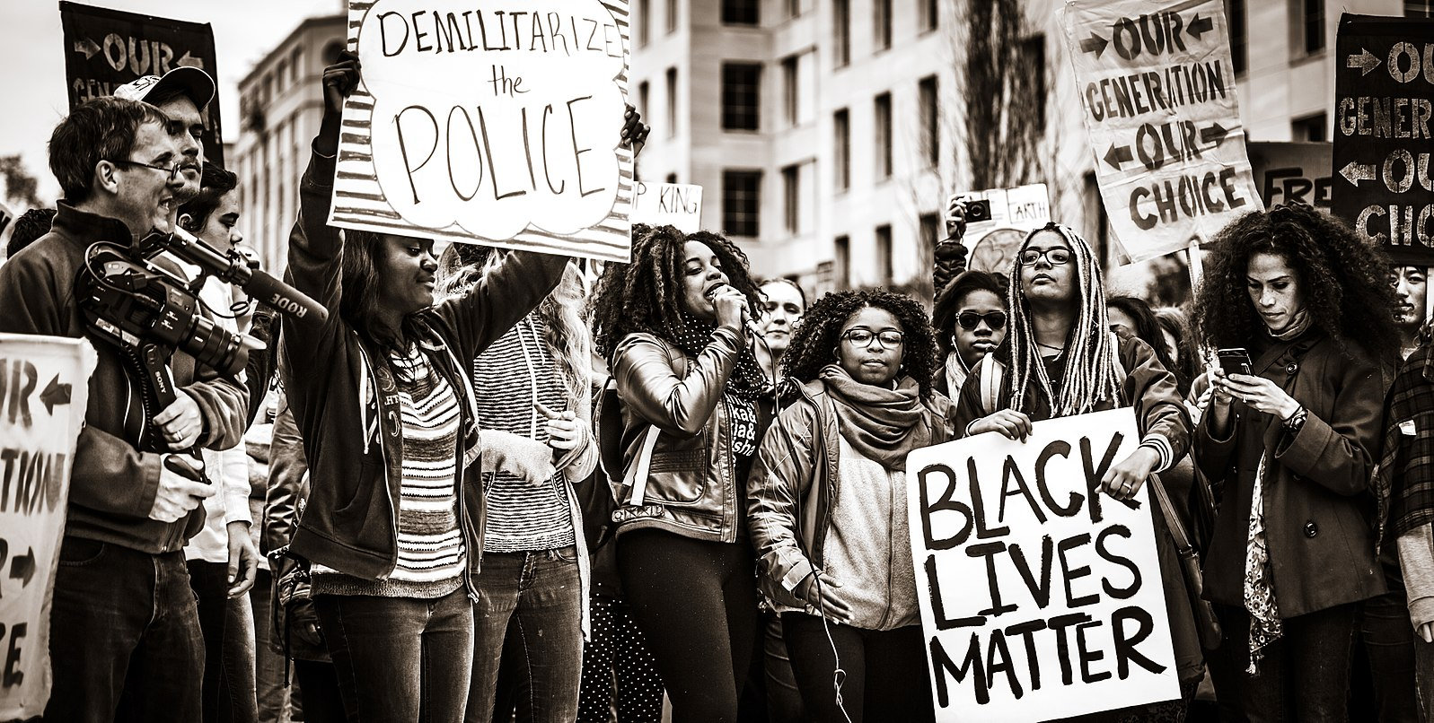 Black and white photo of a Black Lives Matter protest.