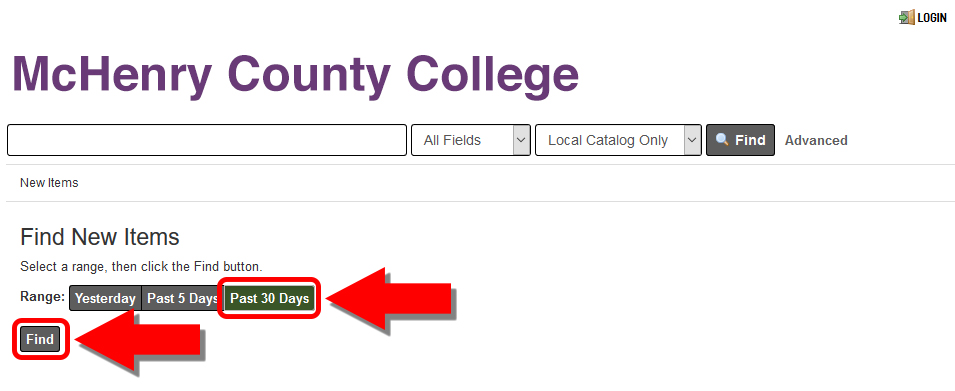 Screenshot of New Items Timespan select page with the MCC Library Catalog