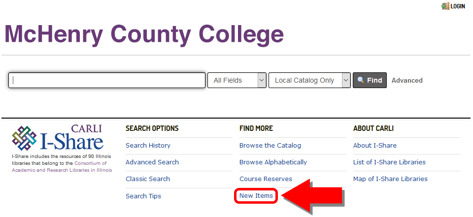 Screenshot showing the New Item link on the Catalog landing page. Image links to the MCC Library Catalog.