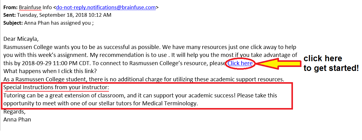 Click on the link in the email you received from Brainfuse Info