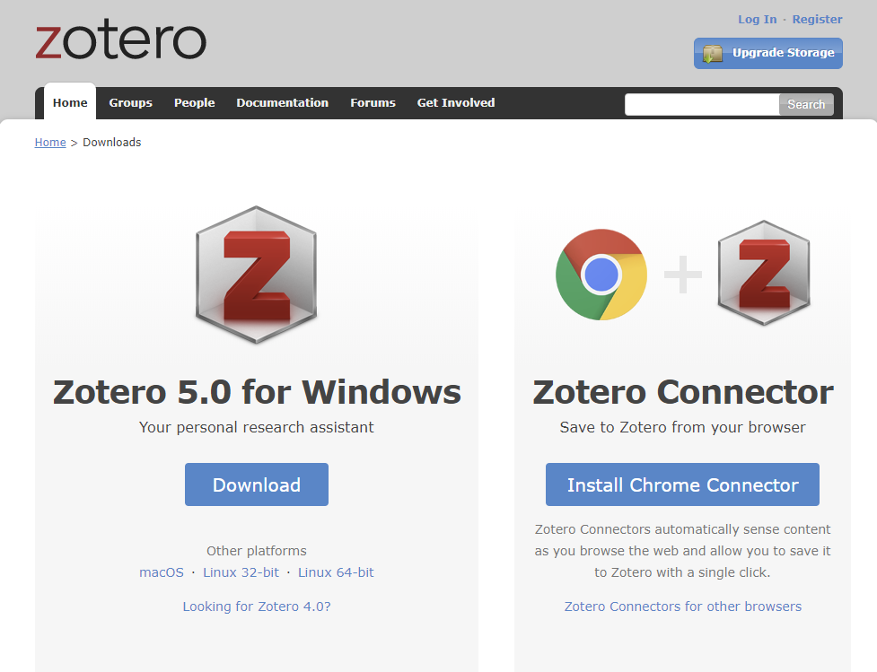 Zotero download page