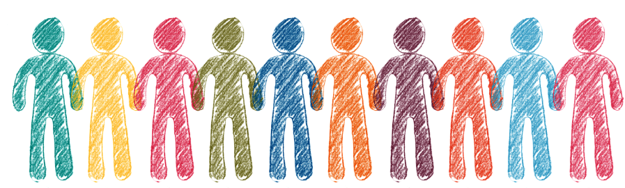 row of multicolored generic human outlines filled with crayon