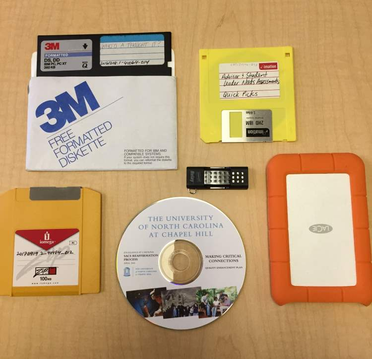 image of current and obsolete digital storage devices.