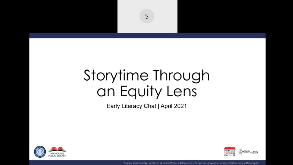 storytime through an equity lens webinar title screen