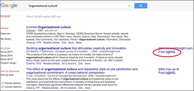 Google Scholar screenshot showing Find it at MQ link