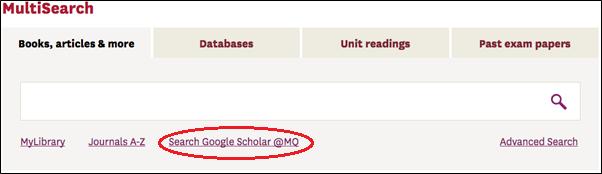 MultiSearch screenshot showing Google Scholar at MQ link