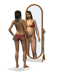 Woman seeing distorted image of herself in mirror.