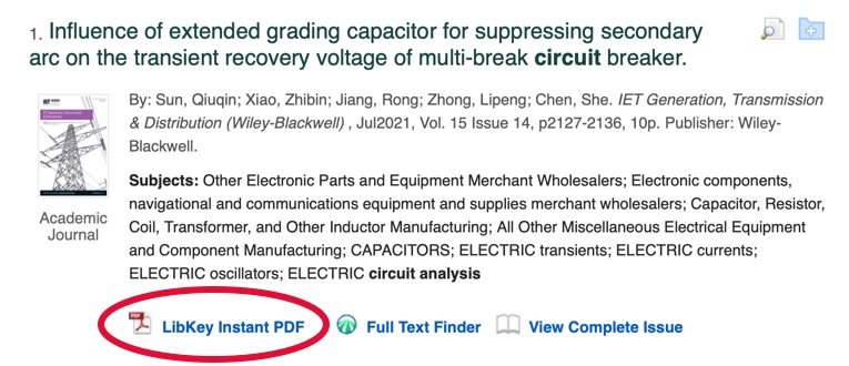 Example of LibKey Discovery link to an article PDF in SearchPlus.
