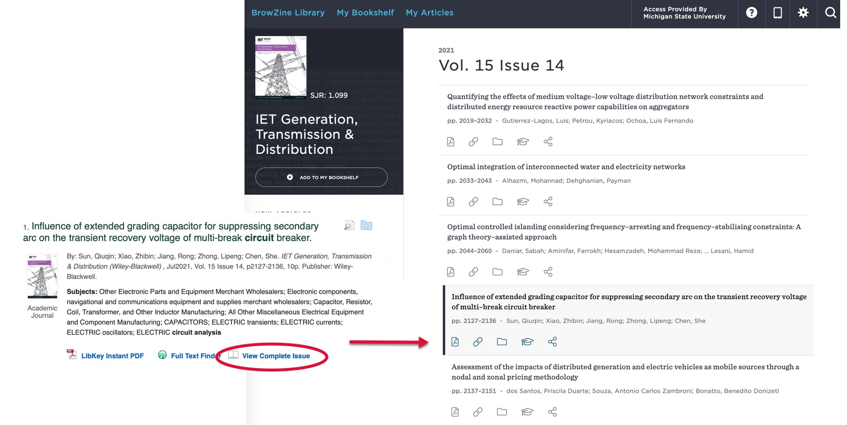Example of using LibKey Discovery to connect to the complete issue of a journal.