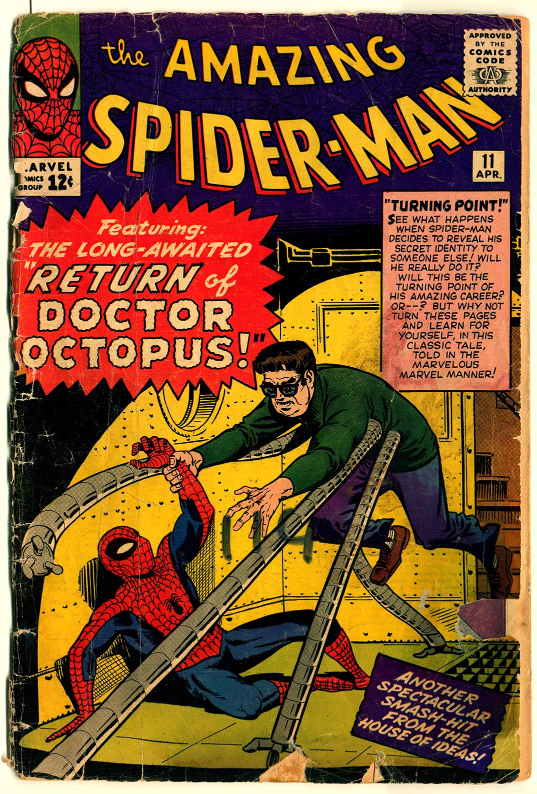"A 1964 issue of The Amazing Spider-Man shows the superhero fighting with the villain ""Dr. Octopus."""