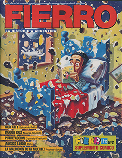 Cover image of Fierro: La Historia Argentina, shows a man reading comics in bed while his bedroom shatters from an earthquake.