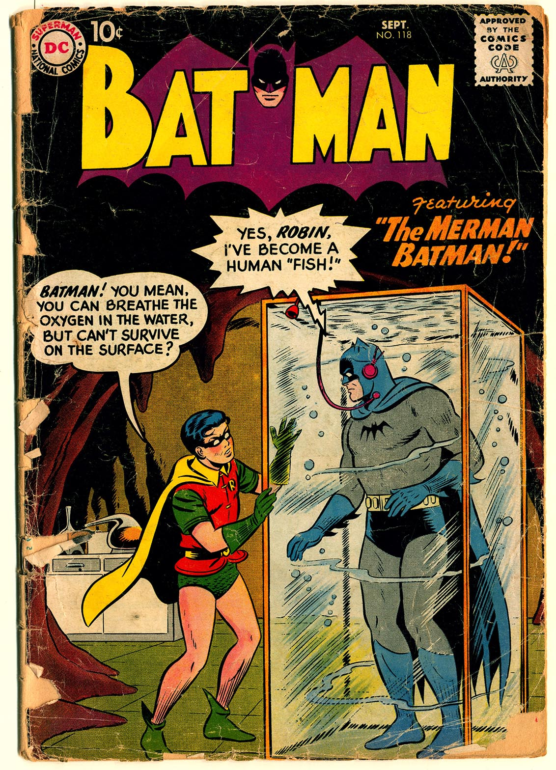 "A 1958 issue of Batman shows the Caped Crusader trapped in a tank of water, having been turned into ""a human fish"" by a villain."