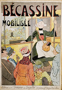 "The cover of ""Becassine Mobilisee"" shows Becassine working as a fare-taker on a Paris streetcar."