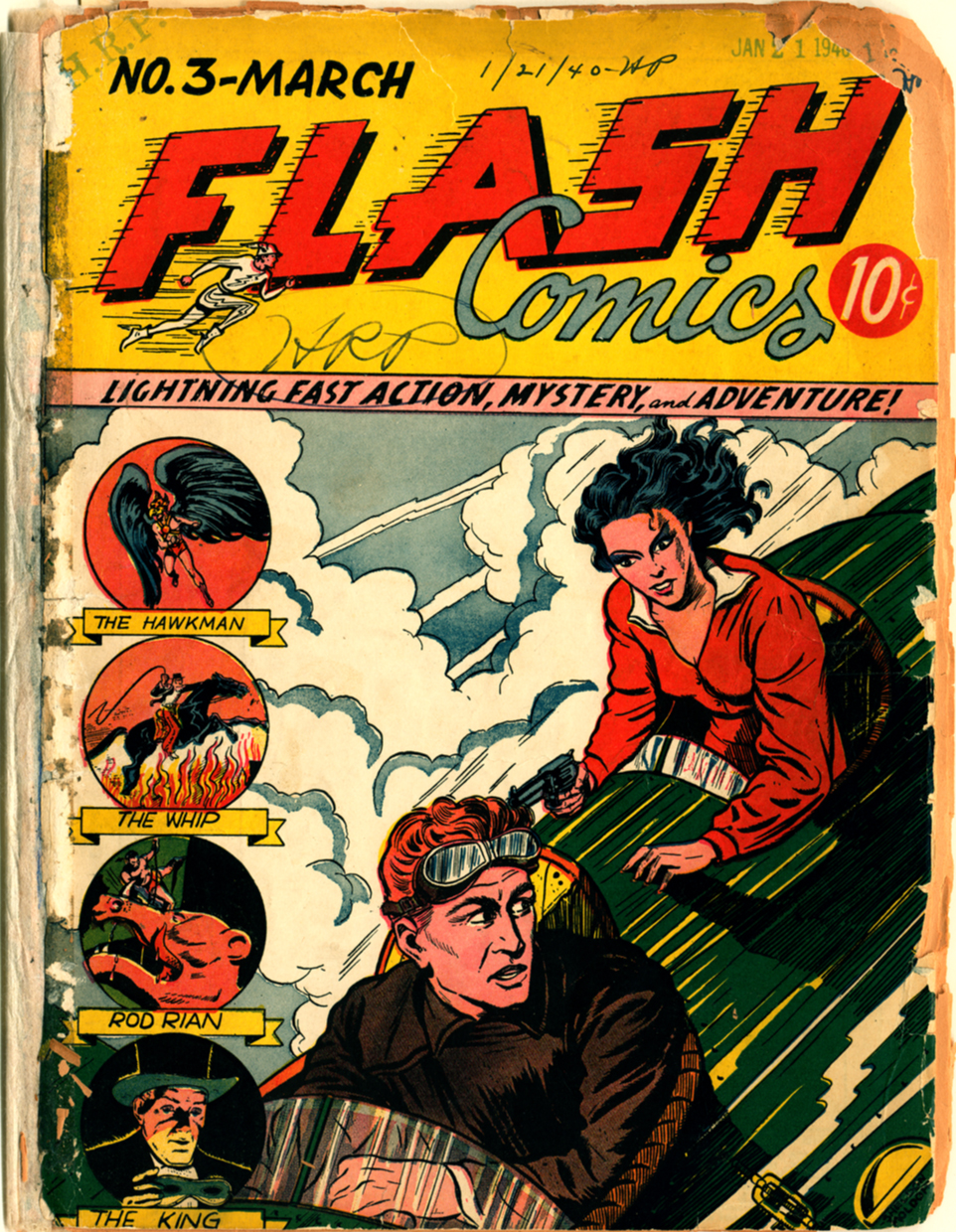 "The March 1940 issue of FLASH shows a man and woman flying a small plane, and the caption ""Lightning fast action, adventure, mystery!"""