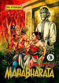 An Indonesian comic with a scene from the Mahabharata, an epic tale from ancient India, shows a young male warrior and a young woman in the forest near a statue of a wise man.